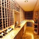 2446 Bottle Capacity Mahogany Custom Wine Racks with Split Wine Refrigeration System