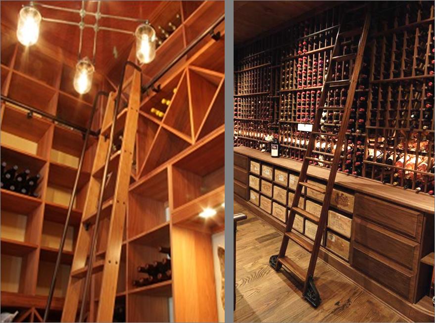 wine cellar rolling ladder