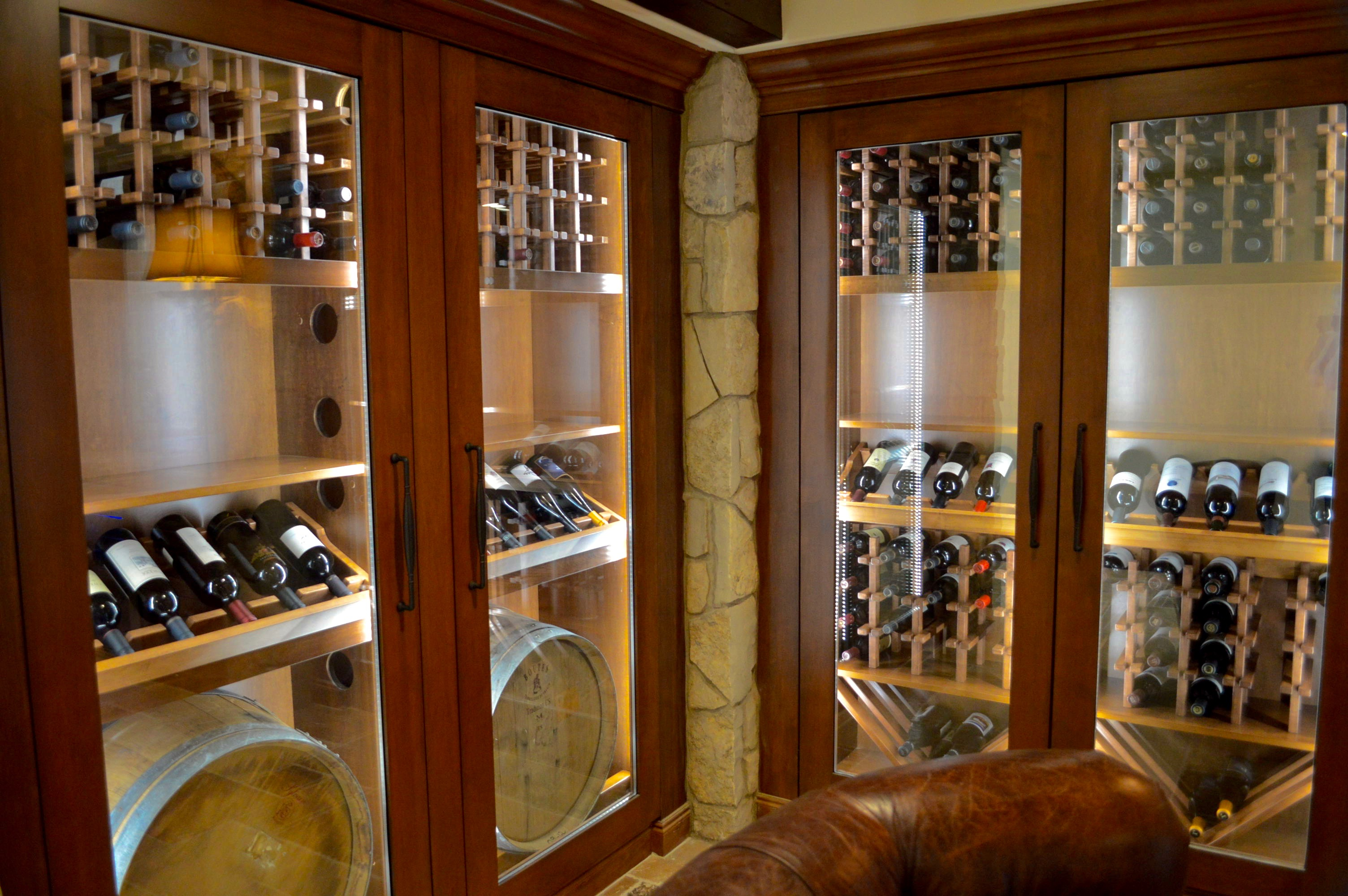 All of the four custom wine cabinets are cooled efficiently and effectively. And, since the refrigeration equipment is located in a separate room, there was no noise inside the storage structure.